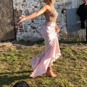 Pink prom dress with gold accents!!